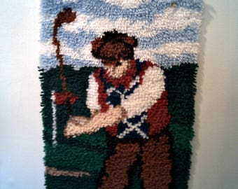 GOLFER On The Go Latch hook Rug DAD BIRTHDAY Completed Ready To Ship Golfer In Action Latch Hook Rug Wall Decor Fathers Day Gift
