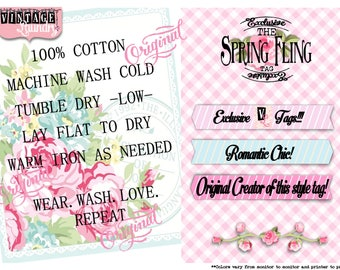 Spring Fling-Care Instruction Tags-PNG JPG Download File-Wash Instructions Tag-Label-Garmet Tags-Labels-Clothes Clothing Tags-Sew In Tag