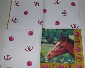 RARE 1 paper towel / Napkins horse head and Horseshoe 25 x 25