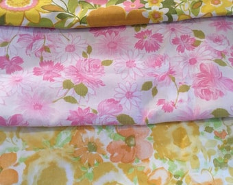 Vintage floral pillowcases, miss matched lot of 3, cotton blend, pink ,green and yellow floral