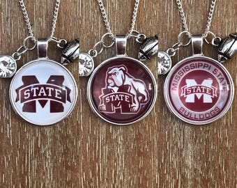 Mississippi State University Bulldogs College Sports Inspired Fan Charm Necklace