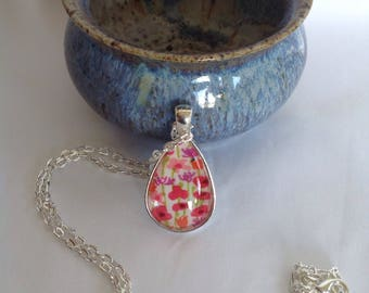 Bezel Set Fabric Necklace   Libertyof London Fabric   Quilters Necklace   Quilt Fabric Necklace   Gift for Quilter   Quilters Jewellery