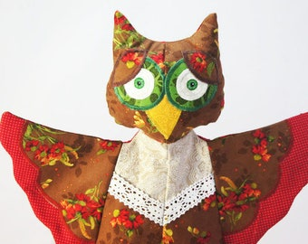 Glove puppet bird, hand puppet owl, red owl toy, handmade textile toy