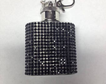 Black Crystal Bling flask keychain