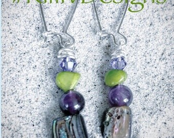 Amethyst/crystal earrings