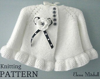 Knitting PATTERN Baby Jacket Baby Cardigan Garter Stitch Knit Pattern Baby Girl Jacket Newborn Girl Coat Knitting Cardigan Baby PATTERN