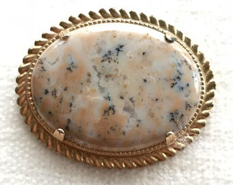 Natural stone brooch