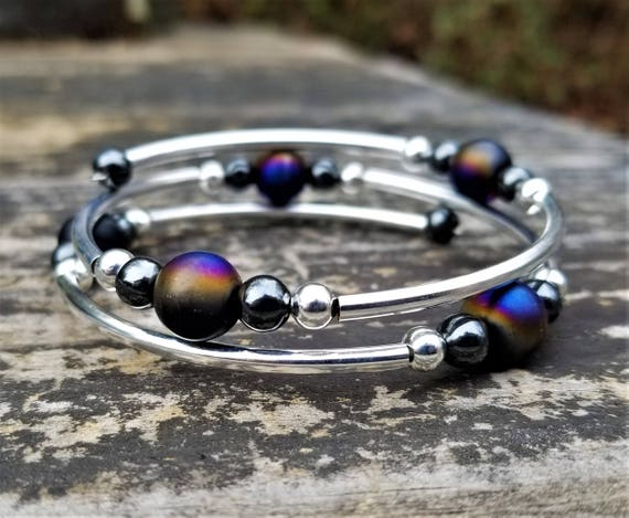 Matte Oil Slick Fight Night Memory Wire Bangle