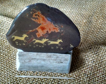 """pictograph Pony Agate Art painting, small size approx. 3-1/4""""x 2-1/2"""" brown agate (natural orange center) with custom elk antler stand"""