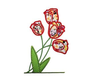 "Tulip Bunch Applique Machine Embroidery Design Pattern in 2 sizes, 5"" and 6"""