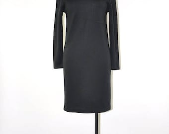 50% OFF 90s black wool dress / minimalist knit dress / long sleeve fitted dress