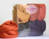 Autumn Wool Bundle - Felting Wool - autumn needle felting wool - mixed fall wool - textile project - craft gift - merino wool