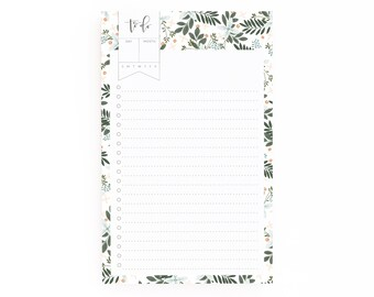 Floral To Do Notepad | Illustrated To Do List Pad with Hand Lettered Calligraphy, Daily Planner Notepad : Morning Blooms To Do Notepad