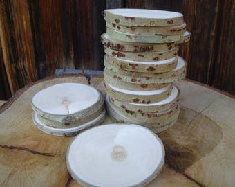 Slices of wood BIRCH,SMOOTH   50 slices for wedding decor disco 2-3 ""
