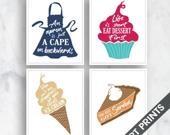 Apron, Cupcake, Ice Cream, Pie (Comfort Food Series A) Set of 4 - Art Prints (Featured in Assorted Colors B)