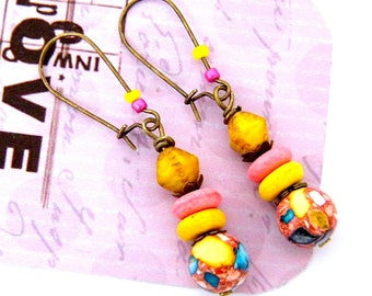 DISCOUNT 20% - yellow earrings, Stud Earrings rustic, sleepers, brass, natural stone, glass