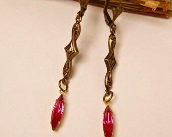 Pink earrings, art deco earrings, brass, crystal earrings