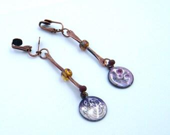 Boucles d'oreilles rustiques - cuire - verre - émaux sur cuivre - bijou artisanal - pièce unique - les bijoux de francesca