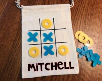 SALE * Travel Tic Tac Toe Game, personalized child's gift, birthday gift, Easter basket, and family gift
