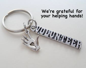 Volunteer Appreciation Gift Keychain, Hand Charm, Volunteer Gift, Employee Gift, Coworker Gift, Work Team Gift, Thank You Gift Teacher