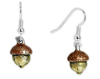 Woodsy Brown 3d Acorn Earrings in Silver Tone, Celebrate Fall, Harvest, Halloween, Thanksgiving