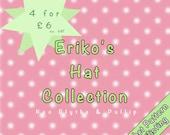 Eriko's Hat Collection - A PDF Crochet Pattern Collection - NEO Blythe  - Pullip -  Blythe Beanie - Blythe Doll Clothes - Eriko's Emporium
