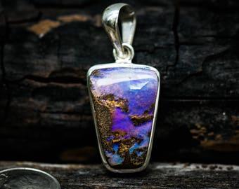 Boulder Opal Pendant - Natural Boulder Opal - Gorgeous Boulder Opal Necklace - Boulder opal pendant - Boulder opal Sterling Silver Pendant