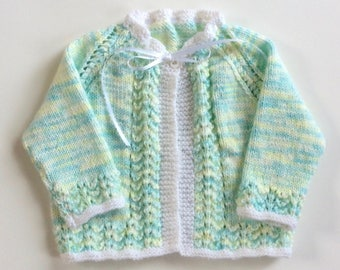 Hand knitted baby matinee coat, knit sweater, newborn child children, baby girl boy clothes knitted baby sweater