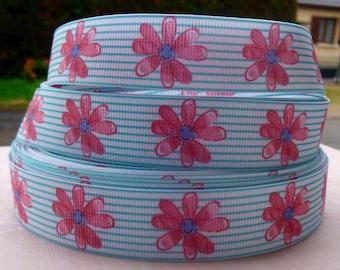 Flower 22mm grosgrain Ribbon lined smiley pink green white meter