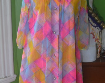 1960s 1970s Colorful Shift Dress