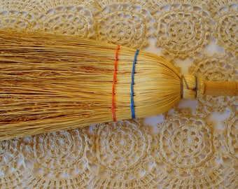 Vintage Straw Broom with a Wooden Handle/ Primitive Hand Crafted Whisk Little Broom/ Rustic Decor /Cleaning Supplies/ Primitive/1980s