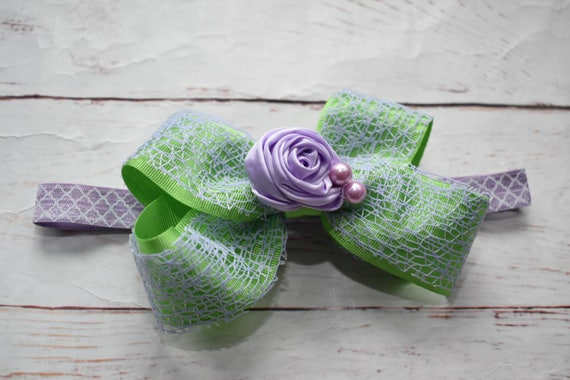 Green and lilac flower bow - Baby / Toddler / Girls / Kids Elastic Hairclip / Hair Barrette / Hairband / Headband