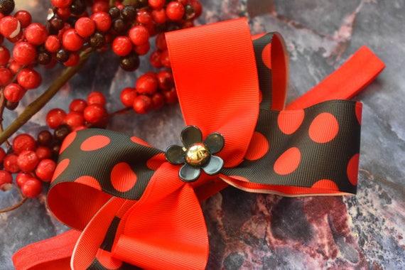 Daisy Black and Red Polka Dot Bow - Baby / Toddler / Girls / Kids Headband / Hairband / Hair bow / Barette / Hairclip