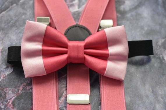 Dual tone pink satin bow tie  for Baby, Toddlers and Boys (Kids Bow Ties) with Braces / Suspenders