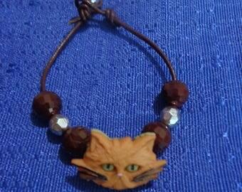 Cat Bracelet,Kitty Bracelet,Kitty Cat Bracelet,Tabby Cat Bracelet,Brown Leather Bracelet