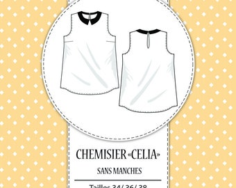 """Pack 3 sizes - Sewing pattern: """"Celia"""" blouse - T34/XS - T36/S - T38/M"""