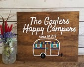Wedding Gift Sign, Wedding Gift Last Name Established, RV Camper Sign, Happy Campers, Wedding Present, Personalized Wedding Gift, Plaque