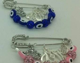 Allah Stroller pin, Evil eye pin, Muslim baby gift, muslim stroller pin, Allah pin, islamic baby gift, pink Allah pin, Blue Allah pin
