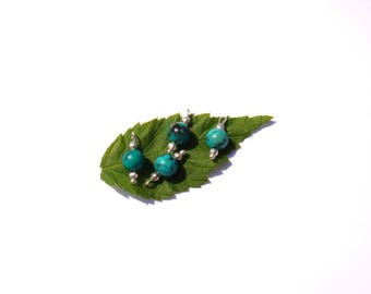 Turquoise dyed Howlite: 4 microphone charms 14 mm tall x 6 mm in diameter