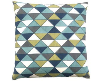 Cushion cover DIMENSION triangles graphically blue olive nature anthracite 40 x 40 cm