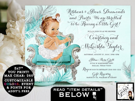 BABY SHOWER invitation, turquoise blue white and silver, ribbons bows, diamonds pearls, ethnic baby shower invitations, African American 7x5