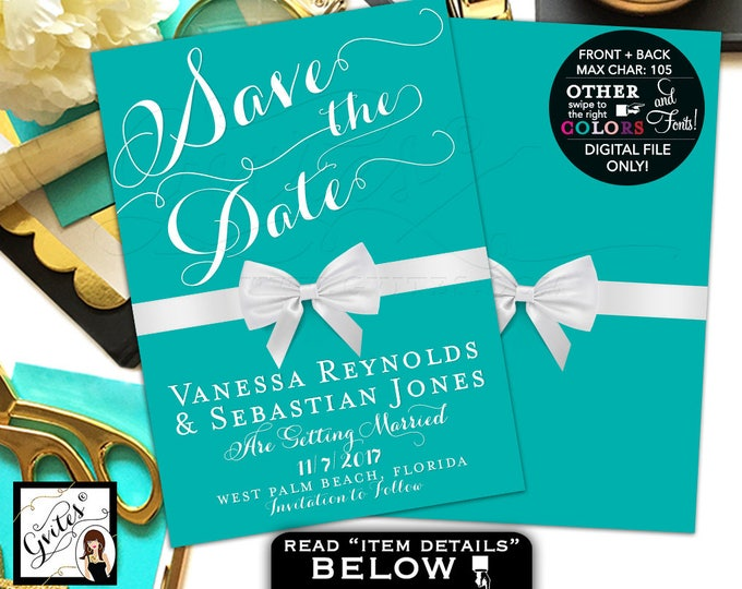 Save The Date Card Breakfast at blue themed, wedding, bridal, double sided 5x7, printable file only.
