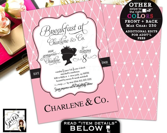 Baby and Co first birthday invitation, 8th birthday princess 1st paris blush pink, digital file 5x7 double sided