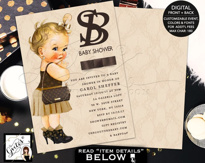Louis Vuitton Invitations, Baby Shower Printable, Gold and Brown, Fashion designer invites. 5x7 double sided, DIGITAL FILE ONLY.