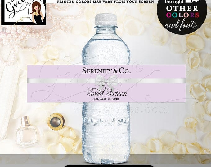 """Serenity & Co. Water Bottle Label Lilac Lavender and white, sweet 16 printable, 8x2""""/5 Per Sheet {Realistic Satin Ribbon}"""
