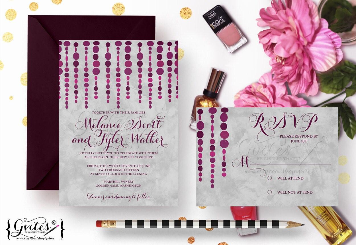 Purple U0026 Silver Wedding Invitations, Eggplant Pink Wedding Invites, Modern  Wedding, Watercolor And Plum, Burgundy Invites, Garland Invites.