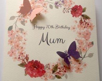 Personalised Butterfly Birthday Card Mum, Nan, Daughter, friend, 30th 40th 50th 60th  70th 80th 90th 100th