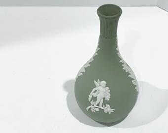 Wedgwood Vase, Angel Bud Vase, Green Wedgwood Vase, Wedgwood Cupid Vase, Wedgwood Jasperware Vase, Green Jasperware, English Wedgwood Vase