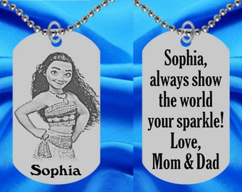 Moana Dog Tag Necklace for Kids, Personalized FREE with Name and number or note! ID