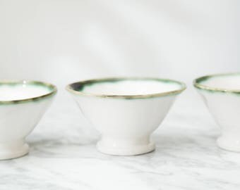 Ceramic Bowls - Vintage White Dessert Bowls with Green Rims